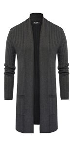 mens draped shawl collar open front long cardigan drap cape ribbed cable knitted cardigan sweaters