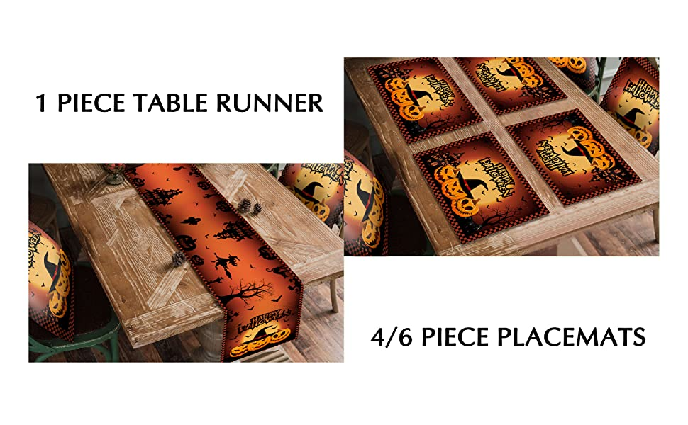 Halloween Table Runner Set with Placemtas