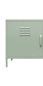 Metal locker accent cabinet with two doors and two handles in pale green