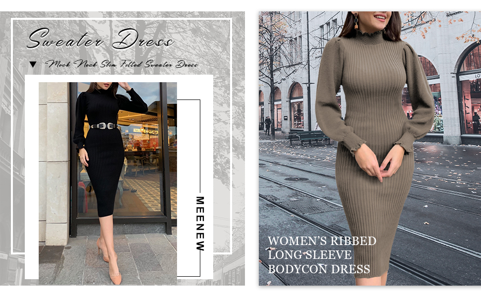 Meenew Women's High Neck Ribbed Midi Dress Lantern Sleeve Bodycon Sweater Dress