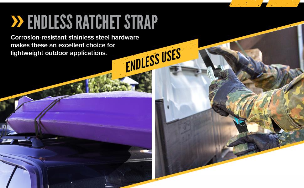 endless ratchet strap with stainless steel ratchet - endless uses