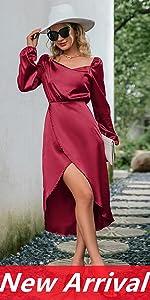 BerryGo Women's Long Sleeve Satin Cowl Neck Formal Wrap Dress Sexy Party Club Split Midi Dress