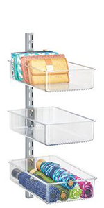 3 Clear Plastic Closet Storage Bins Mounted on Metal Rail Holding Purse Clutches and Umbrellas