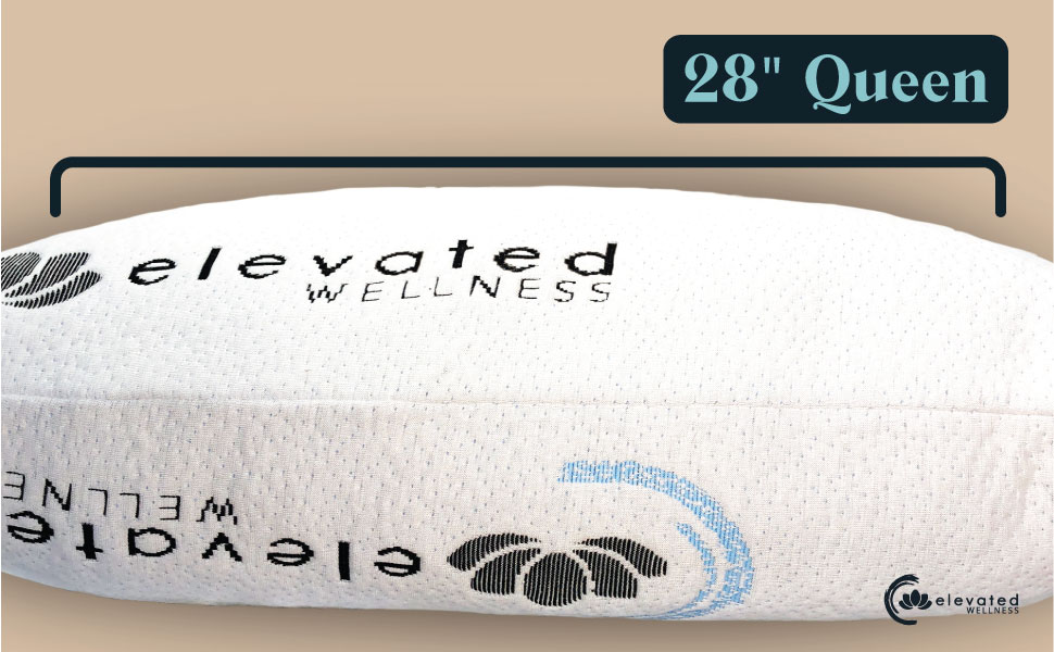 28 inches, queen pillow, elevated wellness