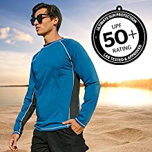 Arcweg Rashguard Long Sleeves Diving UV Protection UPF 50+ Elastic Rash Vest Loose Fit Top Swimming