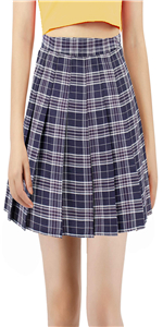 Women Girls Plaid high Waisted Pleated Skater Tennis School Uniform Skirts with Lining Shorts