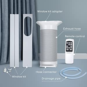 window kit, window kit adapter, Exhaust hose, Remote control, Hose connector, Drainage pip