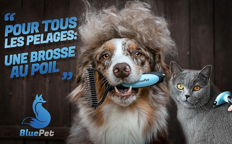 BluePet brosse pour chien chat sous-poil, rouleau magique anti-poil