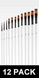 Flat Tip Acrylic Paint Brushes Set