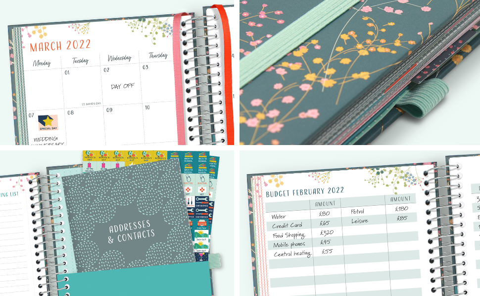Close-ups of the month-at-a-glance pages, elastic bandeau, pen loop, address book and budget pages