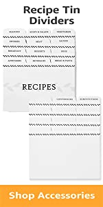 Minimal recipe tin dividers with 12 categories and 12 customizable
