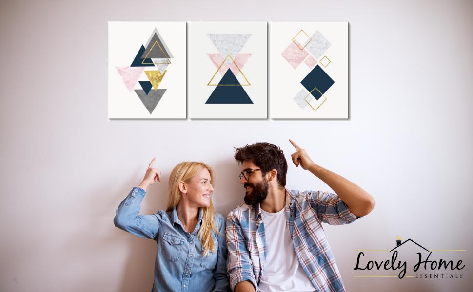 pink gold artwork for walls grey blue