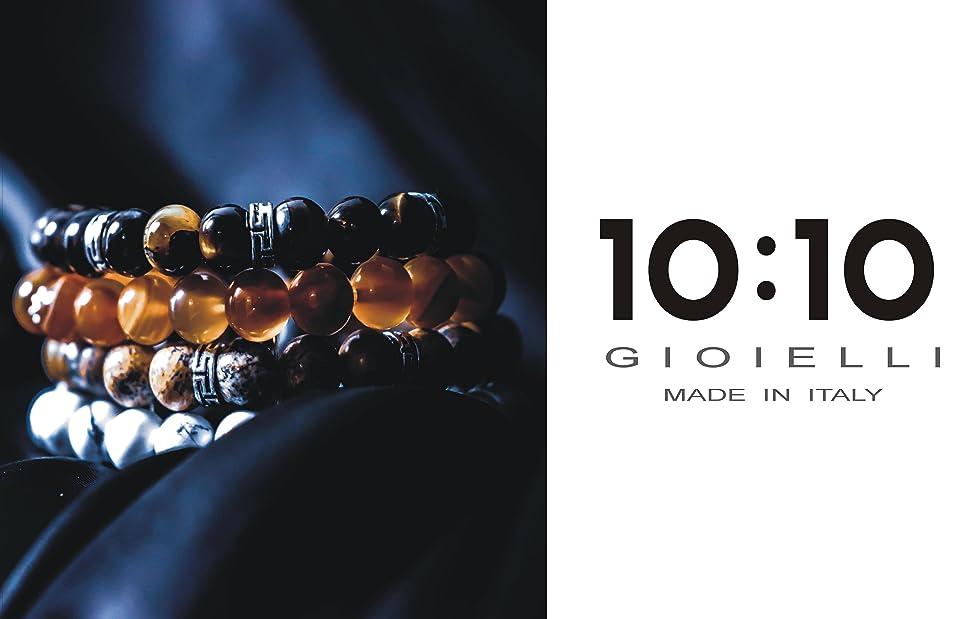 10:10 Bracciali elastici con pietre naturali da 8 mm