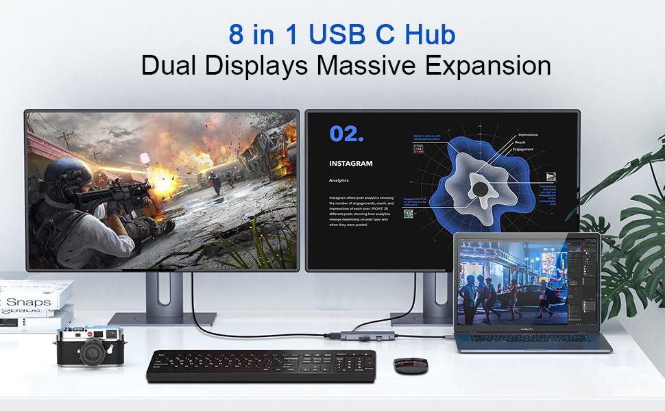 usb c hub dual hdmi