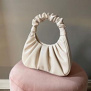 beige shoulder purse