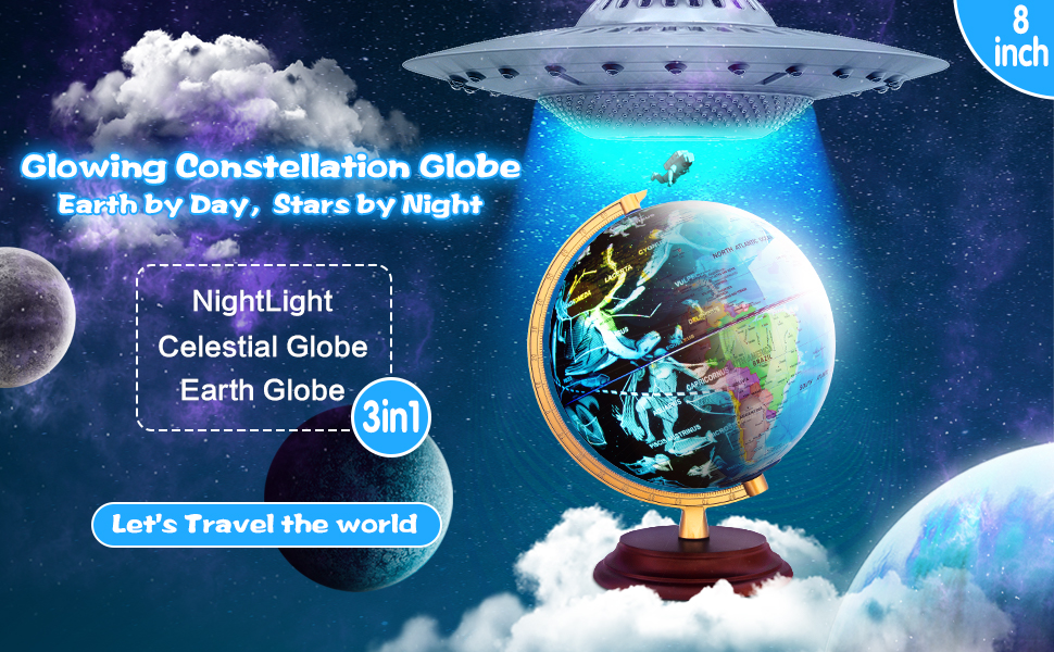 Glowing Constellation Globe Earth by Day,Stars by Night Night Light Celestial Galobe Earth Globe