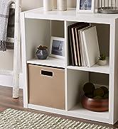 Taupe storage cube in shelf unit