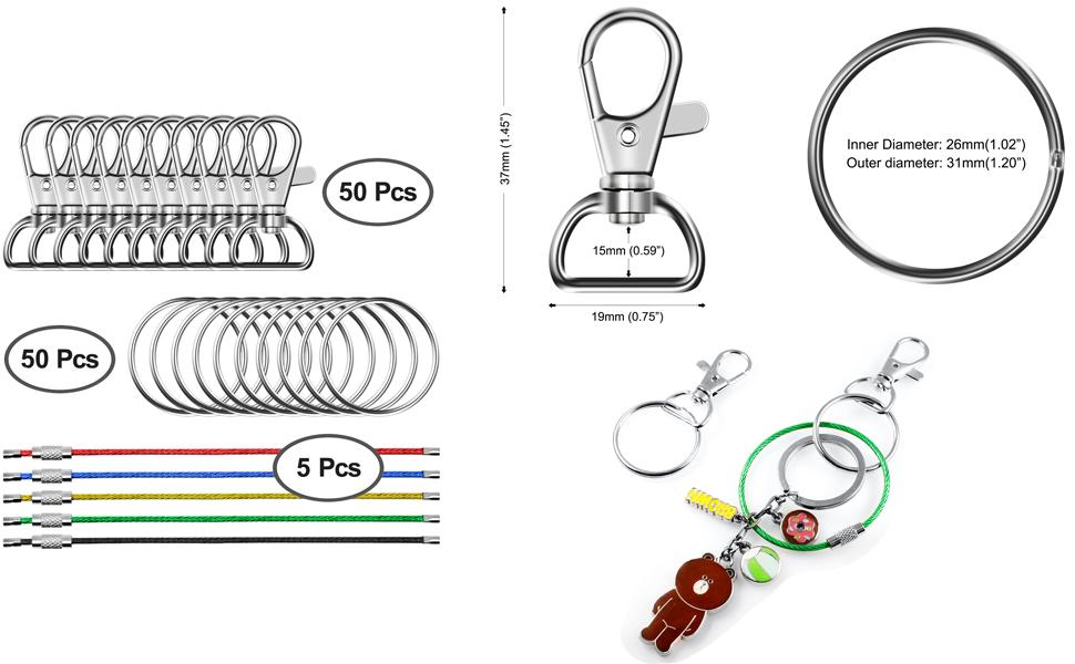 105 PCS Metal Swivel Lanyard Snap Hook with Key Rings and Colorful Key Chains