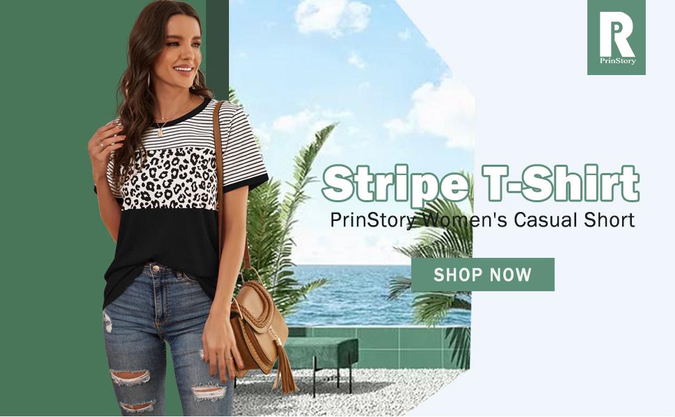 PrinStory Women's Casual Short Sleeve Round Neck Triple Color Block Stripe T-Shirt Blouse Tops