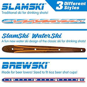 gopong slamski water ski brewski ski for drinking shots and beer color variations