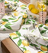 Outdoor tablescape in lemon print