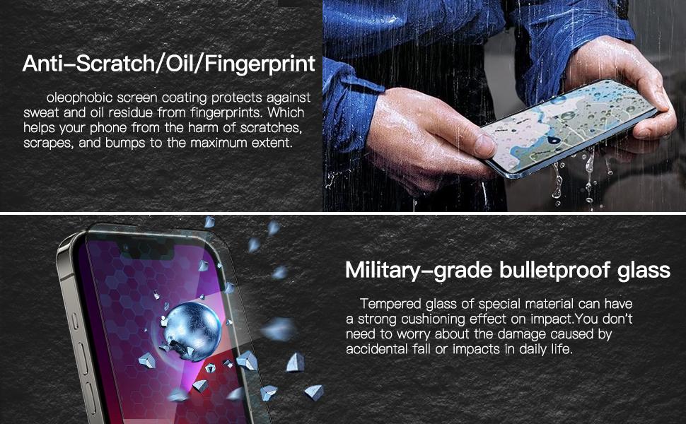 Anti-Scratch / Oil / Fingerprint   Military-grade bulletproof glass