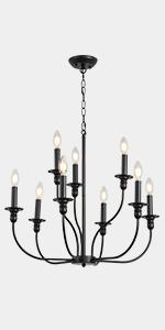 Rustic Black Candlebar Chandelier 9-Light