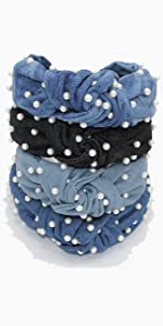 denim knotted headbands with pearls