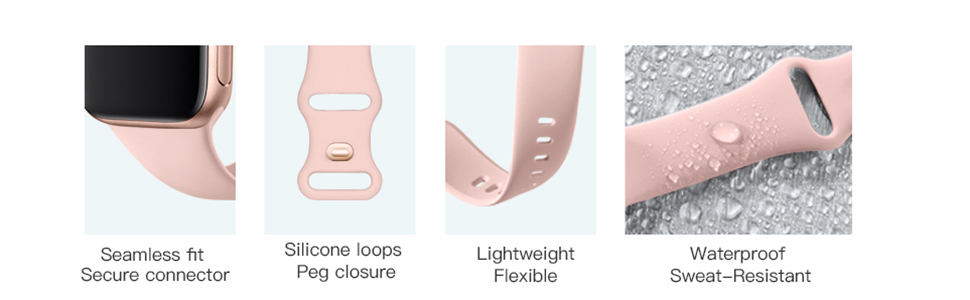 using the pink strap showing the band features, seamless fit, soft silicone, flexible & waterproof