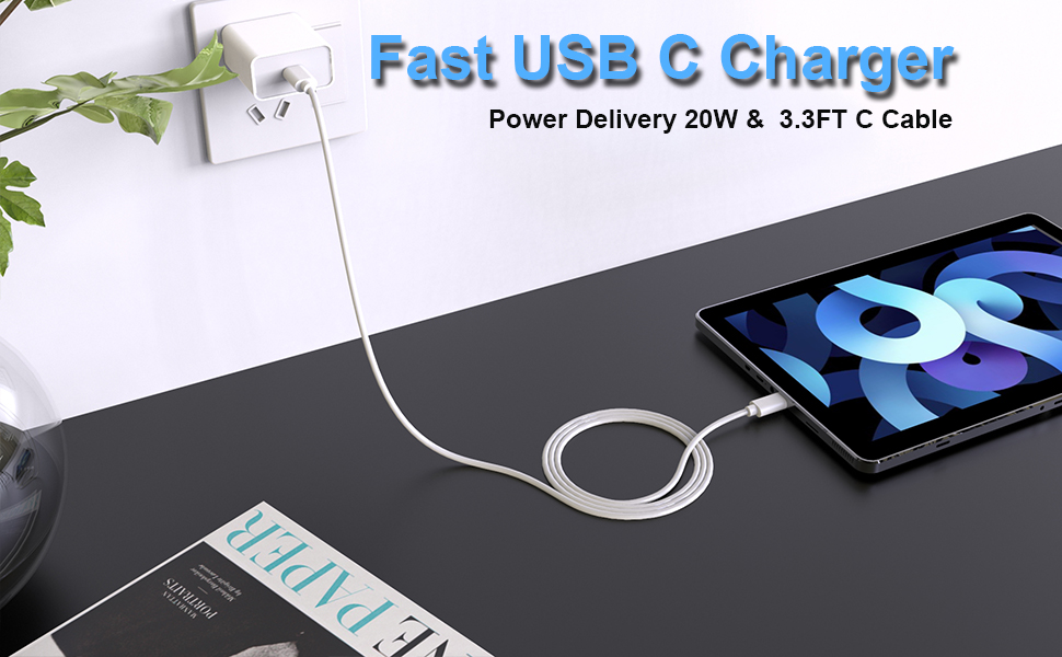 """20W USB C Fast Charger for iPad Pro 11""""/12.9"""" 2021/2020 ..."""