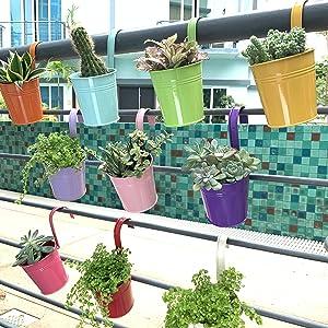10 metal flower pots
