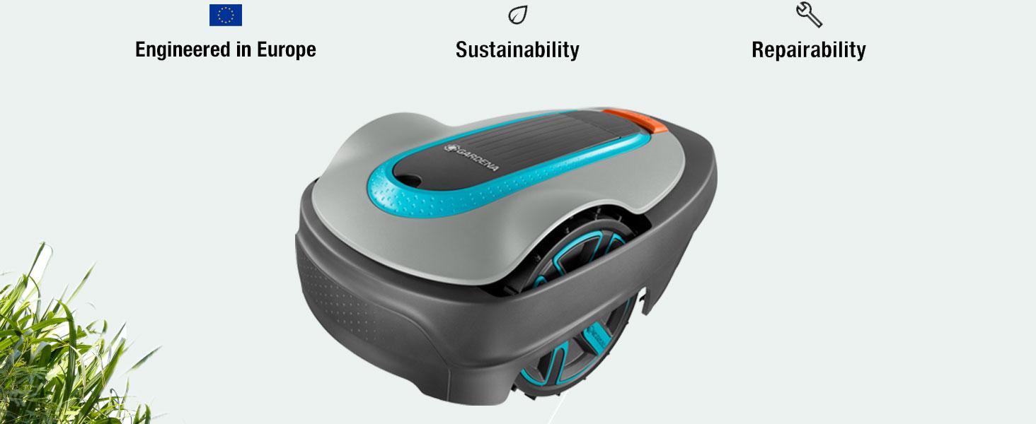 stille, robotmaaier, gazon, sileno, 300, engineered in europe, sustainability, repairability