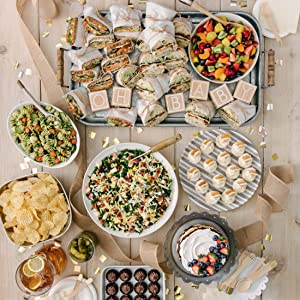 A baby shower lunch spread.