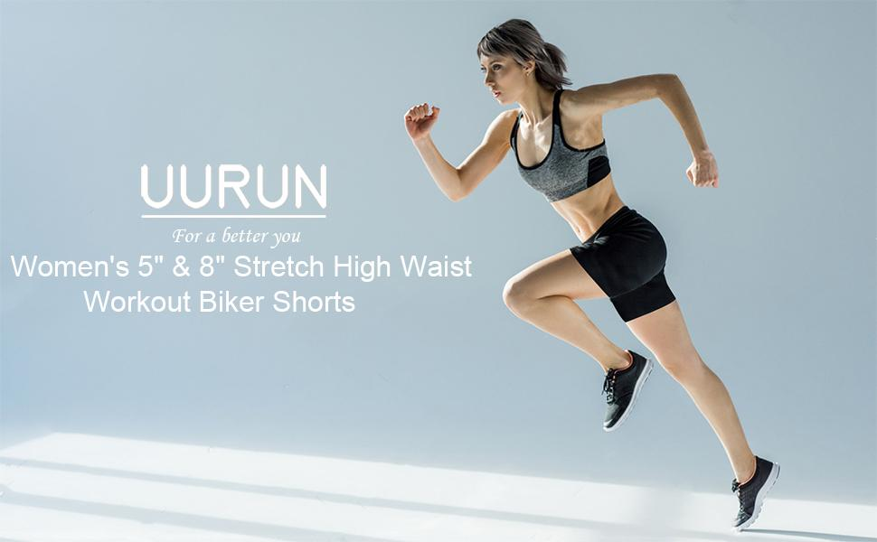 UURUN women's high waisted yoga running shorts with pockets, biker shorts