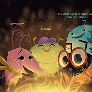 4 bugs look lovingly at their firefly friend, complimenting her light.