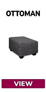 sofa furniture high footstool cover ottoman slipcover oversize taupe stool microfiber pouf damask