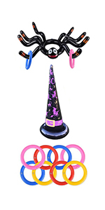Halloween Ring Toss Game for Kids, Ring Toss Halloween Game, Inflatable Spiders and Witch's Hat
