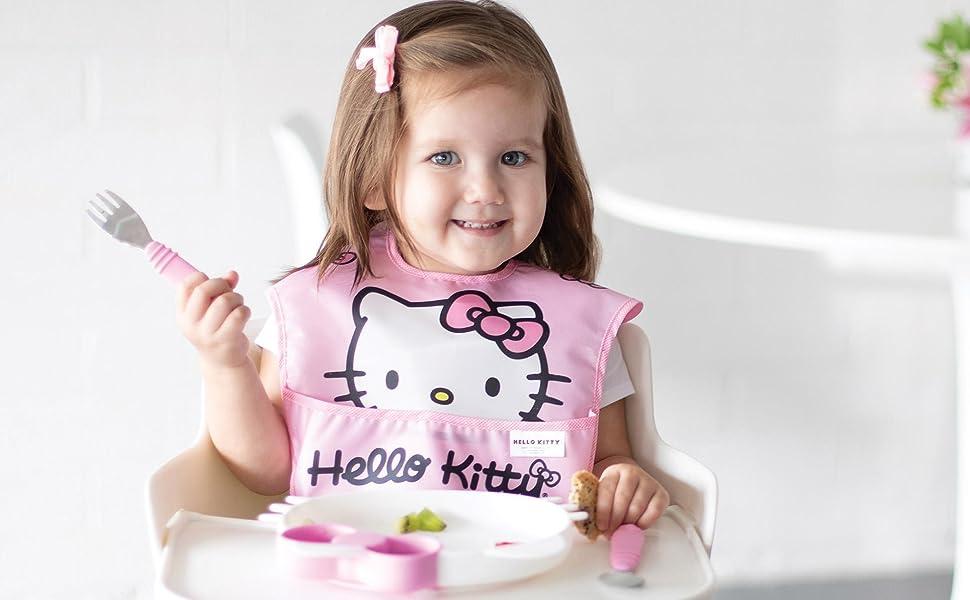 Babies Girls Hello Kitty Print Fabric Baby Bib