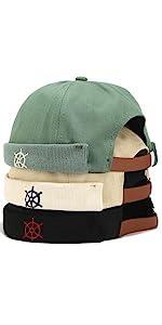 Zegoo Rudder Embroidery Pattern Rolled Cuff Retro Brimless Hat