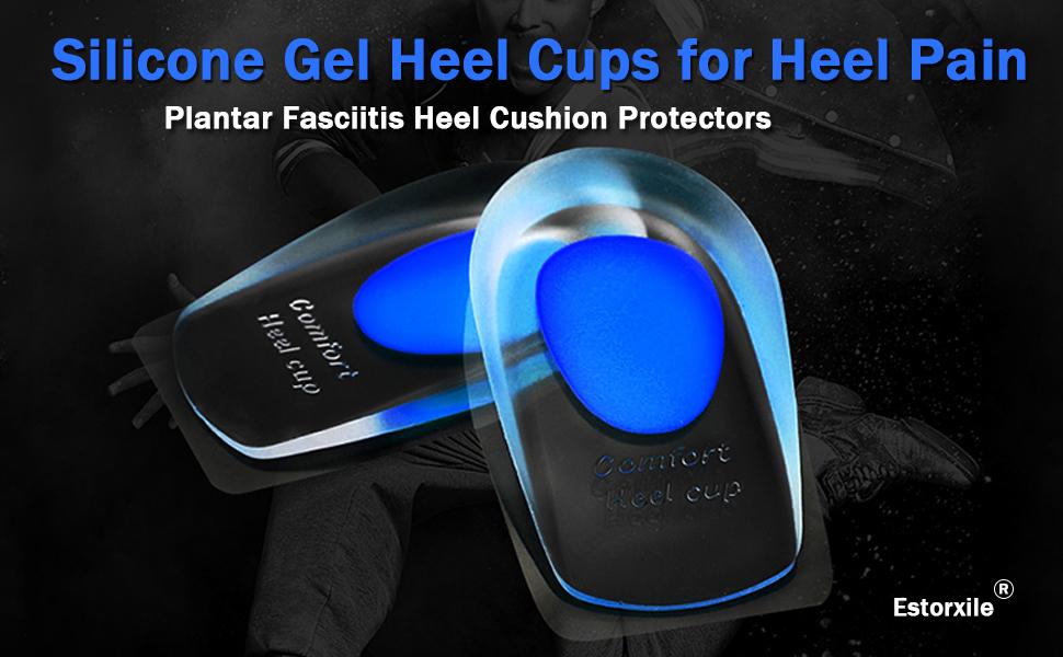 Silicone Gel Heel Cups for Heel Pain, Plantar Fasciitis Heel Cushion Protectors