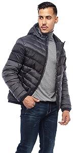 rokka and rolla mens dark grey lightweight puffer jacket winter coat