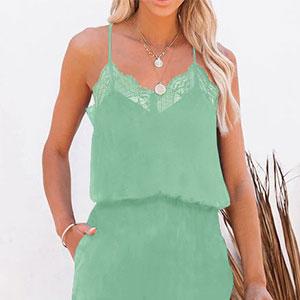Summer Lace Halter Blue Green Jumpsuits