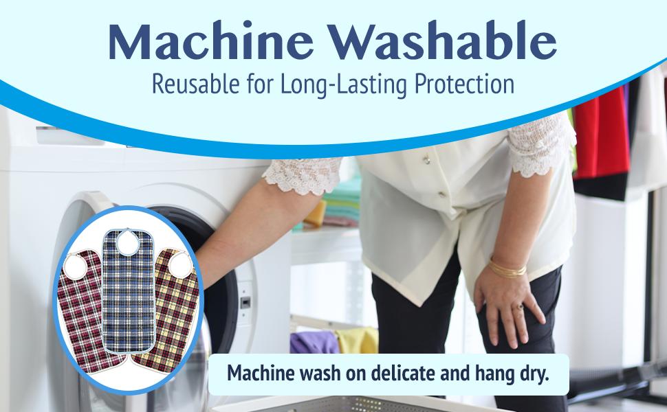 "Woman throwing bibs into the washing macine. ""Reusable for long lasting protection"""