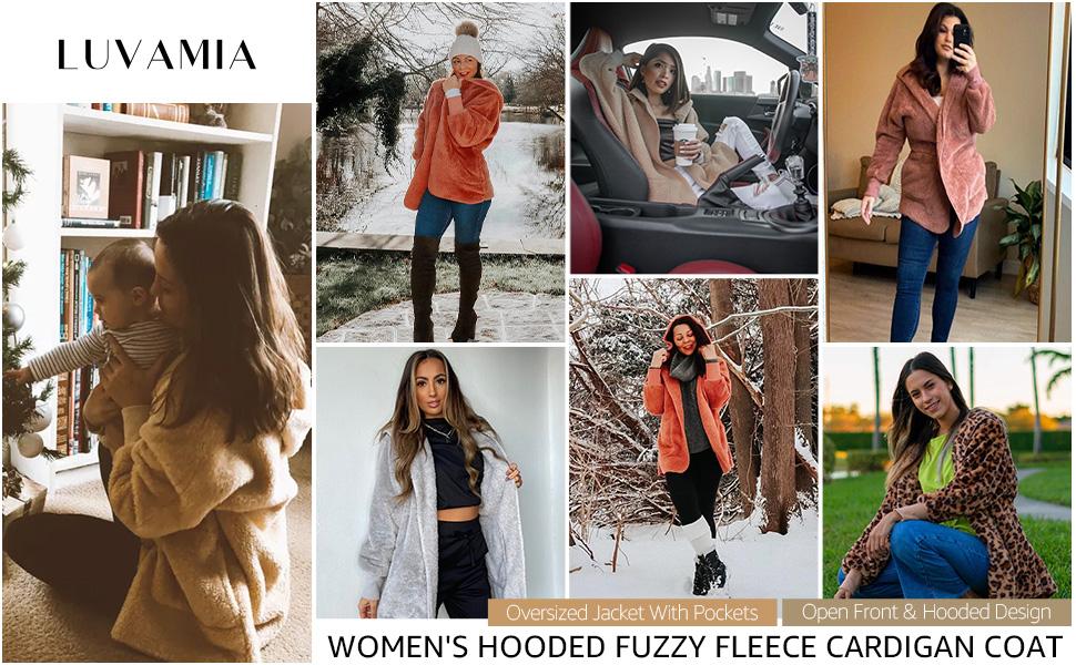luvamia Womens Long Sleeve Fuzzy Fleece Hooded Cardigan Jacket Coat Winter Warm Pockets Overcoat