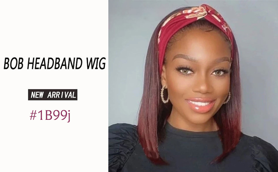 colored human hair headband bob wig for black women