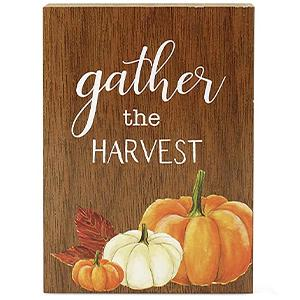 fall autumn theme wooden block signs gather the harvest feature detail