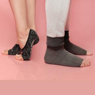 pilates non slip socks, grip socks, grippy toeless socks, open toe grippy socks for men and women