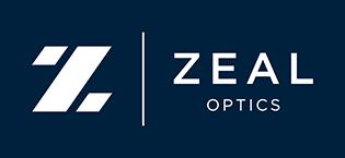 white Zeal Optics logo on navy blue background