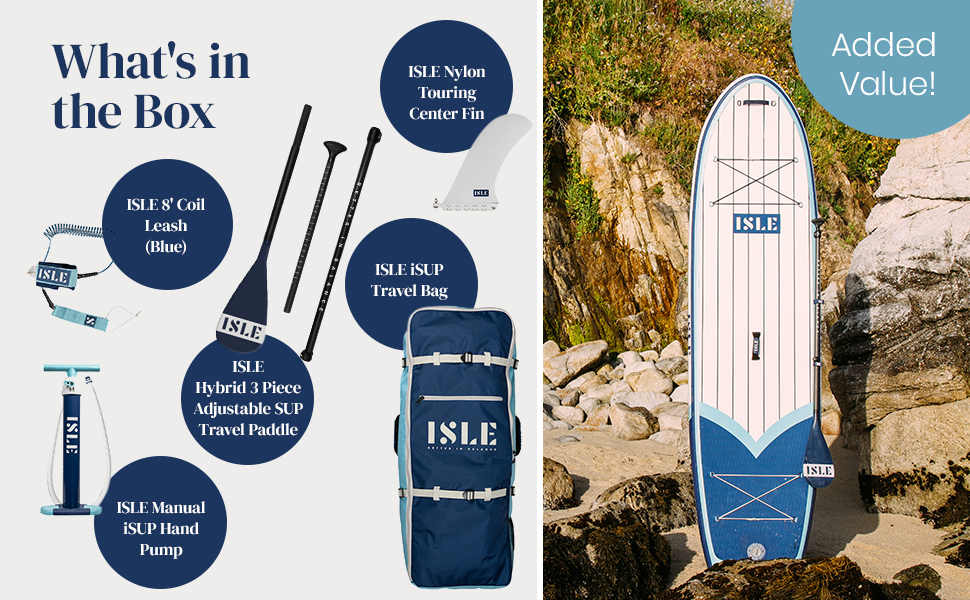 ISLE Surf & SUP What's in the box coil leash hybrid adjustable travel paddle hand pump fibreglass