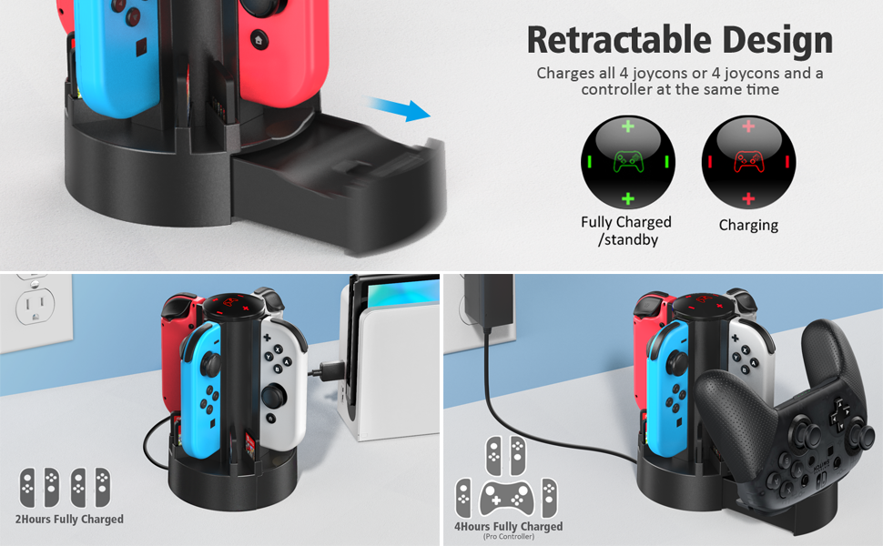 Switch controller charging dock station